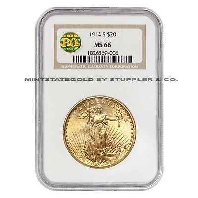 1914-S $20 Saint Gaudens NGC MS66 Gem Gold Double Eagle coin PQ Approved