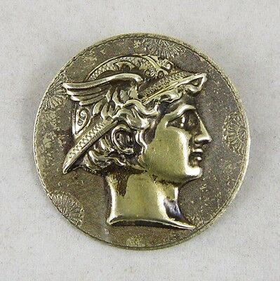 Antique Vintage Picture Button ~ Mercury (Hermes) w/Winged Helmet ~ Mythology