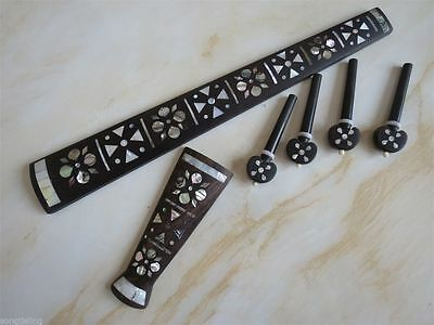 Natural Mother of Pearl inlaid ebony 4/4 violin tailpiece / fingerboard /peg