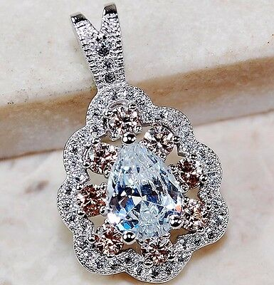 2CT Padparadscha Sapphire & Topaz 925 Solid Sterling Silver Pendant jewelry