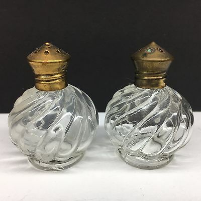 Vintage Mini Clear Round Spiral Glass Salt & Pepper Shakers Brass Tops Japan