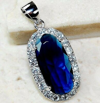 7CT Blue Sapphire & Topaz 925 Solid Genuine Sterling Silver Pendant jewelry