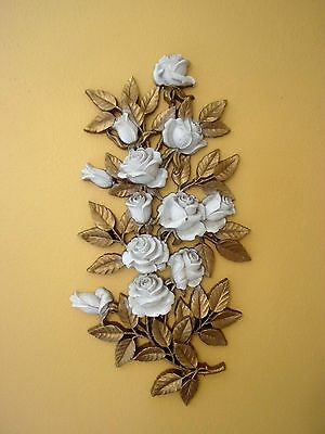"""Vintage """"homco"""" Retro Wall Rose Plaque #7286....hollywood Regency Style"""