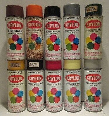 Bargain Lot of 10 Vintage Krylon Name On Can Spray Paint Can Old