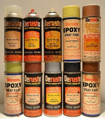 Bargain Lot of 10 Derusto Paper Label Paint Can Old Krylon