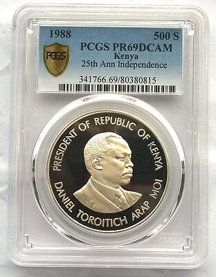 Kenya 1988 Independence PCGS PR69 500 Shillings Silver Coin,Proof