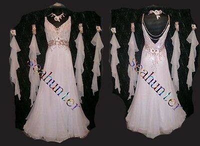 Women Ballroom Smooth Competition Waltz Tango Dance Dress US 16 UK 18 White Gold