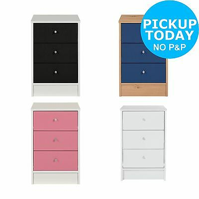 HOME New Malibu 3 Drawer Bedside Chest - Choice of Black/Pink/Blue/White. -Argos