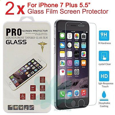 "2X New Premium Real Tempered Glass Film Screen Protector for 5.5"" iPhone 7 plus"