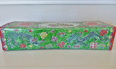 Antique Chinese Hand Painted Porcelain Pillow, Dragon, Flowers,Qing Dynasty Mark