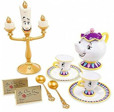 Disney Deluxe Beauty and the Beast Singing Lumiere Tea Set Mrs Potts Chip Gift