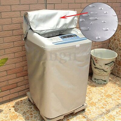 Washing Machine Top Zipper Dust Cover Oxford Cloth Silver Dustproof Protect