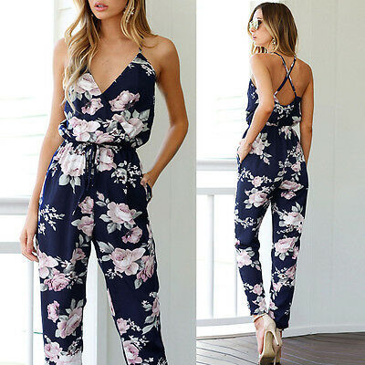 Women Backless Jumpsuit Sleeveless Long Floral Printed Party Playsuit Rompers