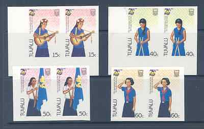 Tuvalu 1985 Girl Guides Set Imperf Pairs Very Fine Mnh