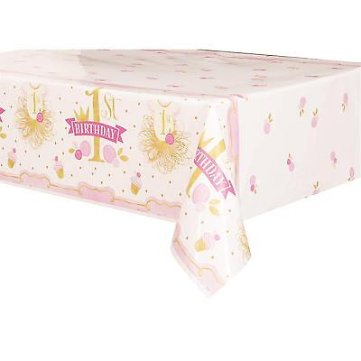 Pink And Gold Girls 1St First Birthday Party Plastic Tablecloth Table Cover