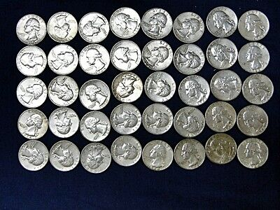 40 Silver Quarters - mostly 1963 & 64 Lot 18