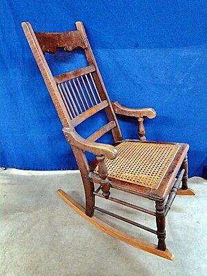 Antique Wicker Seat Rocking Chair Lot 365