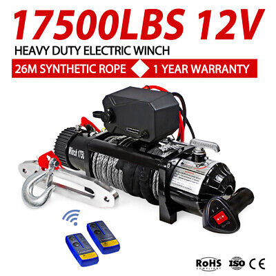 Outranger 17500LBS Electric Winch 26M Synthetic Rope Wireless Remote 4X4 4WD 12V