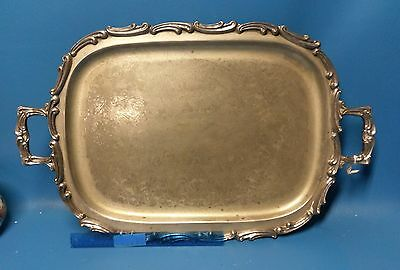 Vintage Leonard Silver Plate Handled Footed Tray