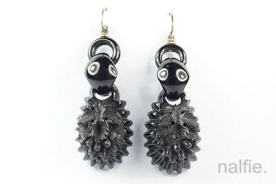 ANTIQUE VICTORIAN PERIOD ENGLISH SILVER WHITBY JET GRAPE & VINE EARRINGS c1870