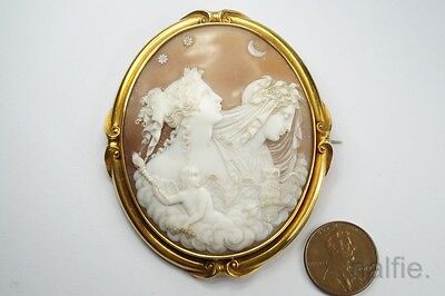 ANTIQUE VICTORIAN ERA 15K GOLD CARVED SHELL NIGHT & DAY CAMEO BROOCH c1860