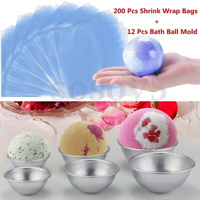 12 Pcs DIY Metal Bath Bomb Molds + 200 Pcs Heat Shrink Wrap Bags Soap Packaging