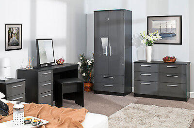 Bedroom Furniture High Gloss Grey On Black Wardrobe Chest Bedside