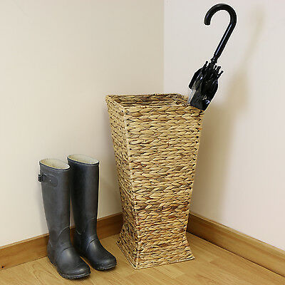 Natural Woven Wicker Umbrella Bin/Basket & Walking Stick Holder/Laundry Stand