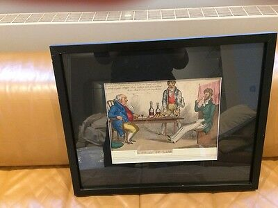 Hand coloured engraving A Point of Law after Thomas Rowlandson
