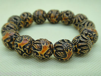 Collectible Tibet Bone Handwork Carve Dragon Phoenix Bead Lucky Stretch Bracelet