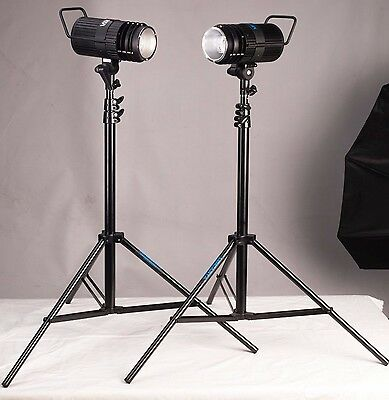 Lencarta pf200 2 head studio lighting kit including stands +2 softboxes
