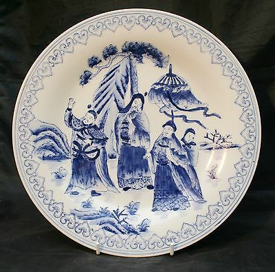 Vintage Chinese Porcelain Plate Blue & White. Made in Macau. Hand Painted.