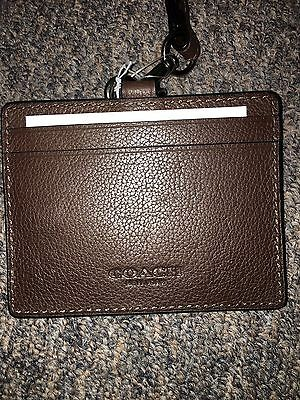 Coach Mens Mahogany Leather Credit Card/ID Card Lanyard NEW