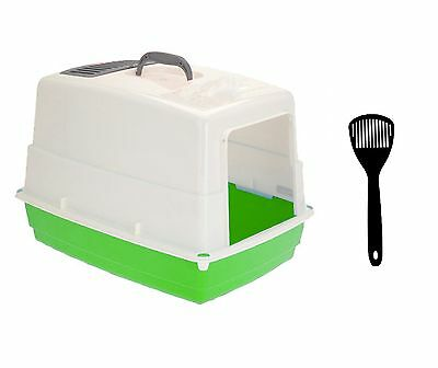 Large Hooded Cat Pet Toilet Loo Litter Tray with Carbon Filter and Scoop