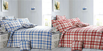 Duvet Cover With Pillow Case Bedding Set Check Tartan - Blue, Red - Reuben