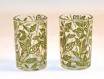 Set of 2 Mini Green Leaves Collectible Shooter Shot Glass