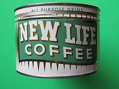 vintage New Life keywind coffee tin