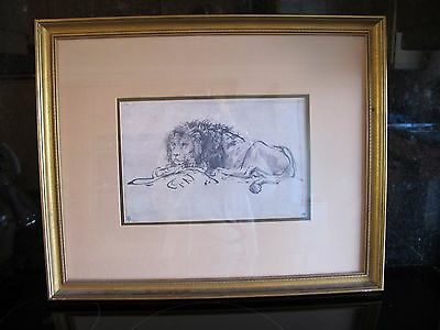 Fine art print Rembrandt lion lying down, from ink etching