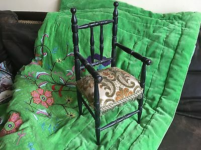 Antique Doll French Chair Empire Wood Victorian Display Bear