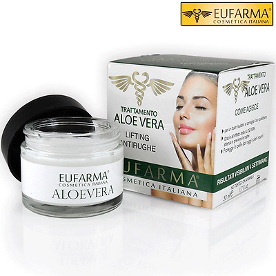Eufarma Crema Viso Aloe Vera Lifting Antirughe Idratante 50 Ml Made In Italy