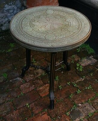 antique large brass tray table on aesthetic movement stand