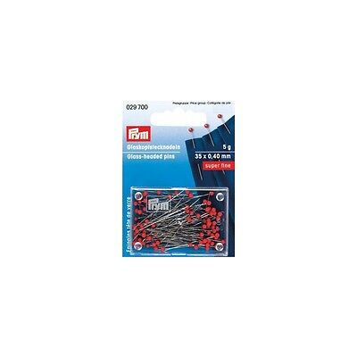 Prym Glass-headed pins 0,40x35 mm silver color red 5 g 029700
