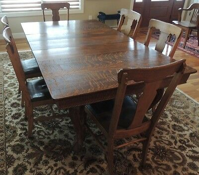 Antique Quarter Sawn Oak Dining Room Ball & Claw Foot Hand Carved Table only