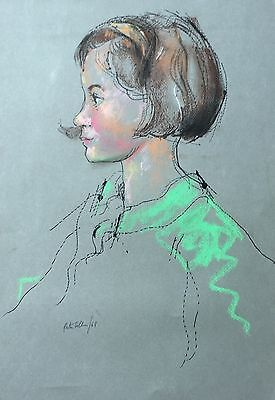 "Peter Collins ARCA (1923-2001) ""Girls Head"" ink and pastel"