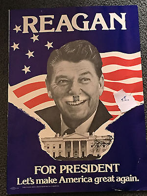 lot A Ronald Reagan Original Campaign Poster 1980 Let's Make America Great Again