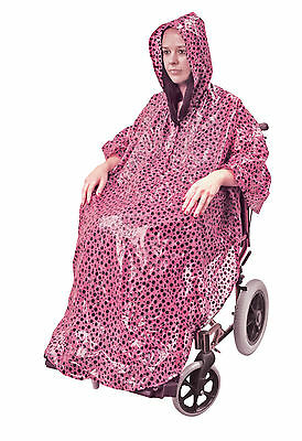 Aidapt PINK Dots Waterproof Disability Wheelchair Weather Protection Poncho Coat