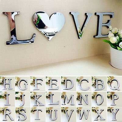 N 26 Letters DIY 3D Mirror Acrylic Wall Sticker Decals Home Decor Wall Art Mural