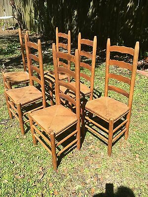 Vintage Ladder Back Chairs (set of 6 )  by J.H. Craver & Sons with Rush Bottoms
