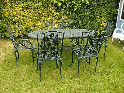 Cast Aluminium Garden Table And Bench And 4 Carver Chairs Patio Large Set