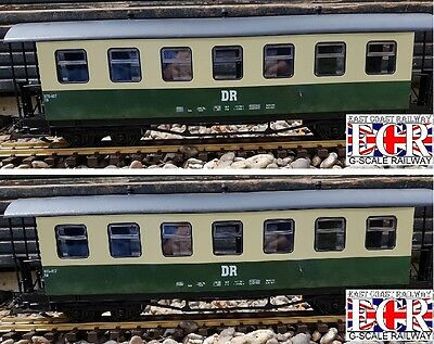 2 yes TWO G SCALE 45mm GAUGE DR RAILWAY PASSENGER GREEN CREAM CARRIAGE TRAIN